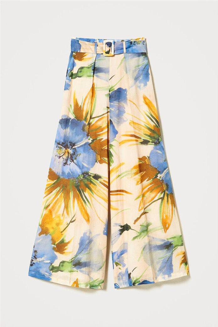 "Twinset γυναικεία παντελόνα ""Summer Hibiscus Print"" 6"