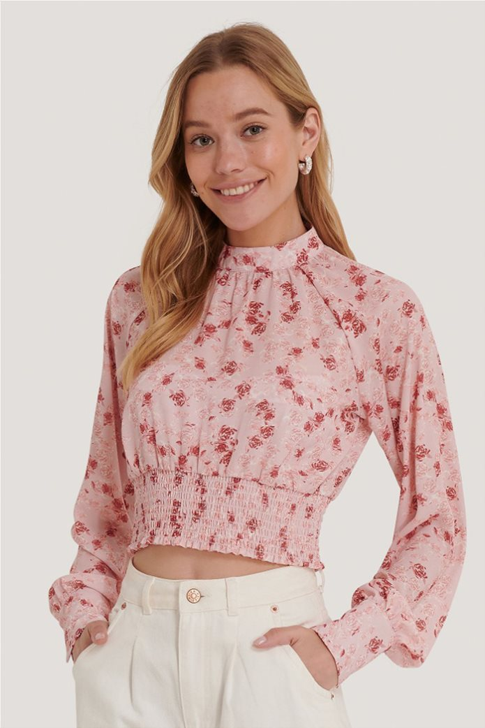NA-KD γυναικεία μπλούζα με all-over floral print cropped 0