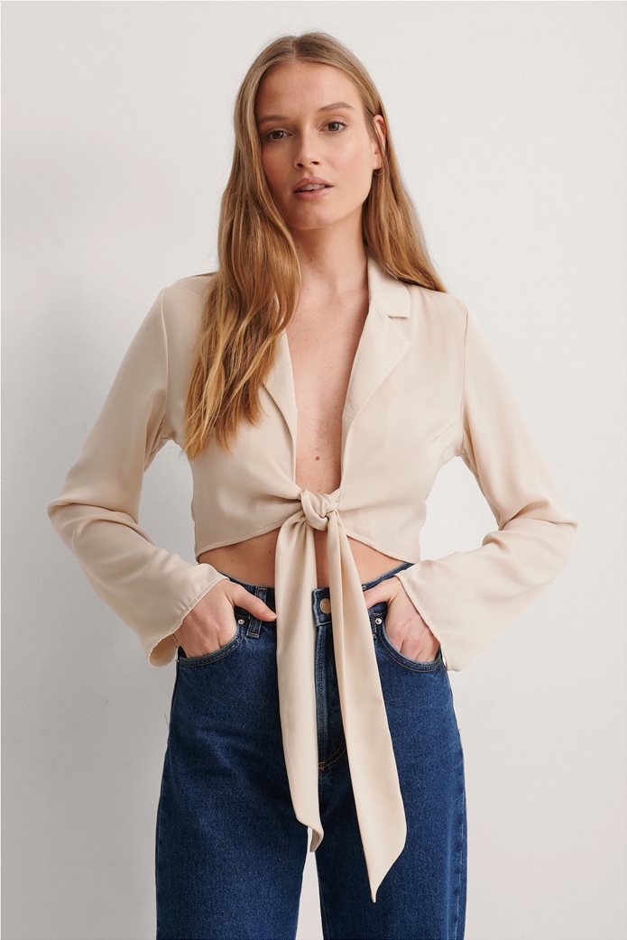 NA-KD γυναικεία μπλούζα μονόχρωμη με δέσιμο στο μπροστινό μέρος 0