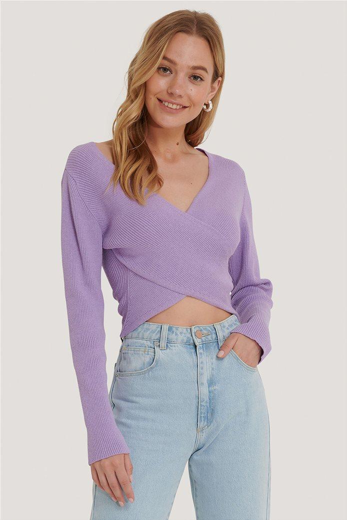 NA-KD γυναικείο πουλόβερ με crossover σχέδιο και ribbed πλέξη 0