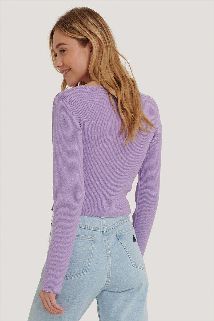 NA-KD γυναικείο πουλόβερ με crossover σχέδιο και ribbed πλέξη 1