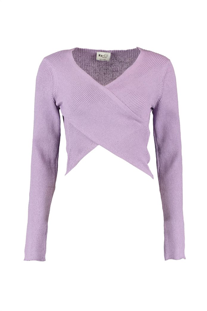 NA-KD γυναικείο πουλόβερ με crossover σχέδιο και ribbed πλέξη 2