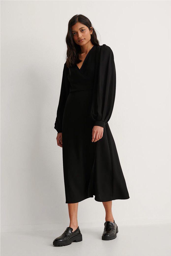 NA-KD γυναικείο midi φόρεμα κρουαζέ με puff μανίκι και ζώνη στη μέση 0