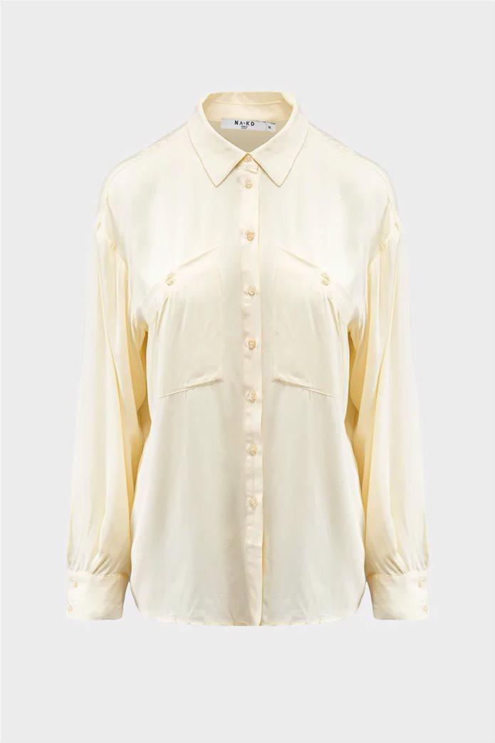 NA-KD γυναικείο πουκάμισο μονόχρωμο button-up Oversized Fit 4
