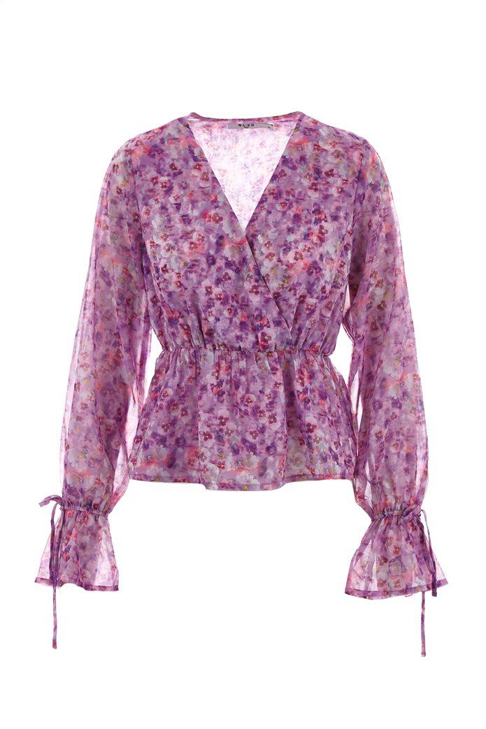 NA-KD γυναικεία μπλούζα κρουαζέ με all-over floral print Λιλά 0