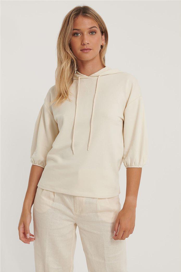 NA-KD γυναικεία μπλούζα φούτερ με κουκούλα και μανίκι 3/4 0