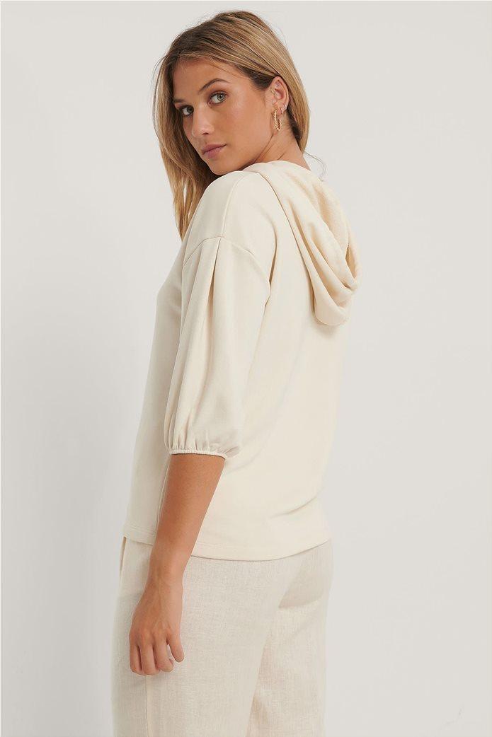NA-KD γυναικεία μπλούζα φούτερ με κουκούλα και μανίκι 3/4 1