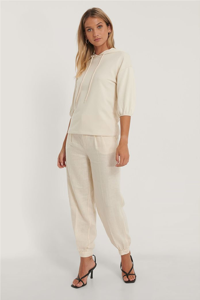 NA-KD γυναικεία μπλούζα φούτερ με κουκούλα και μανίκι 3/4 2