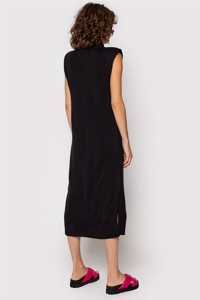 NA-KD γυναικείο midi φόρεμα με βάτες στους ώμους Μαύρο 2