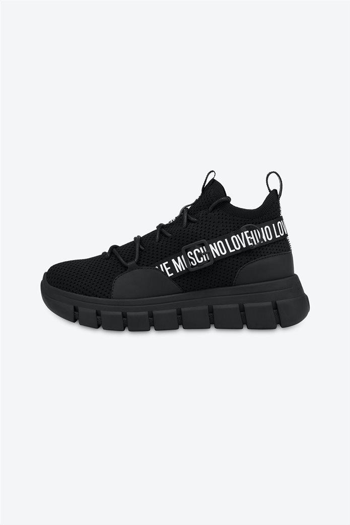 Love Moschino γυναικεία sneakers με τρέσα με logo print Μαύρο 0
