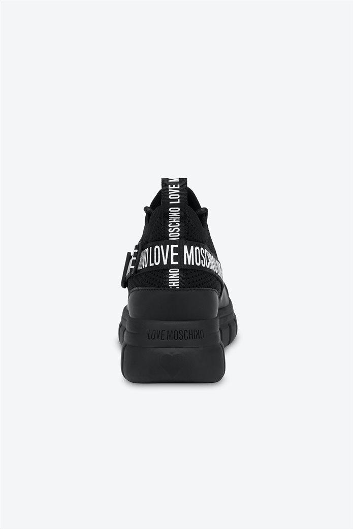 Love Moschino γυναικεία sneakers με τρέσα με logo print Μαύρο 3