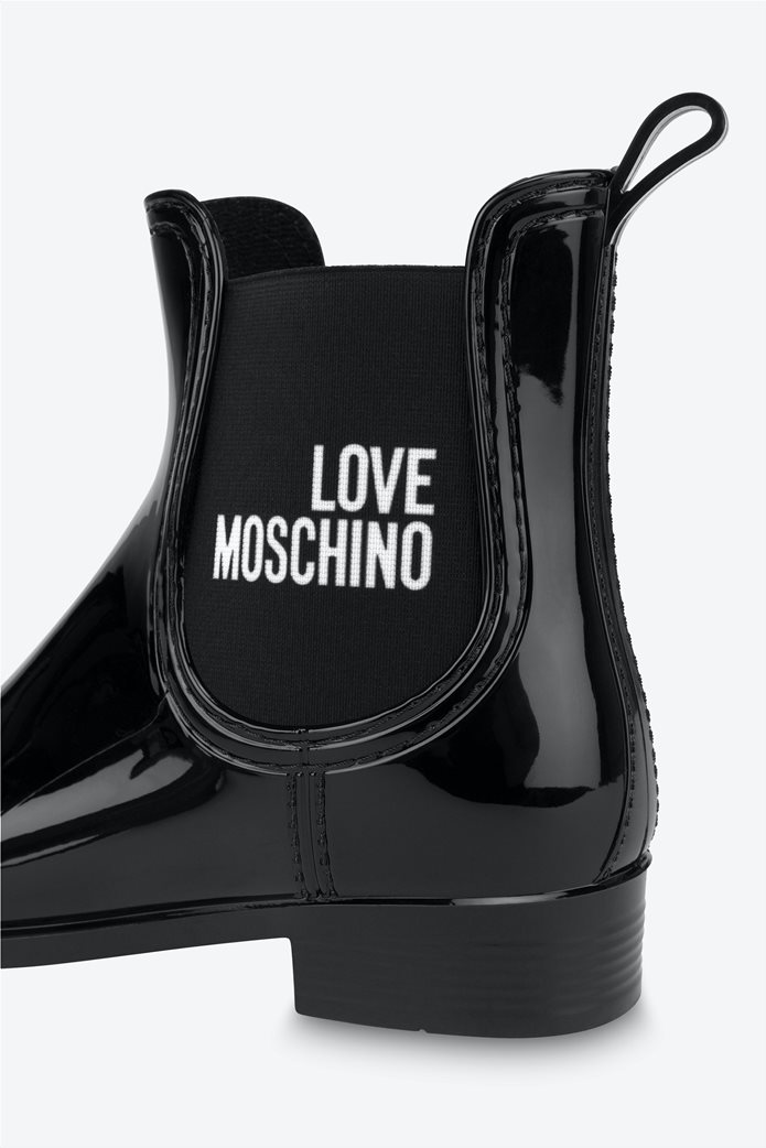 Love Moschino γυναικεία μποτάκια λουστρίνι με logo print Μαύρο 3