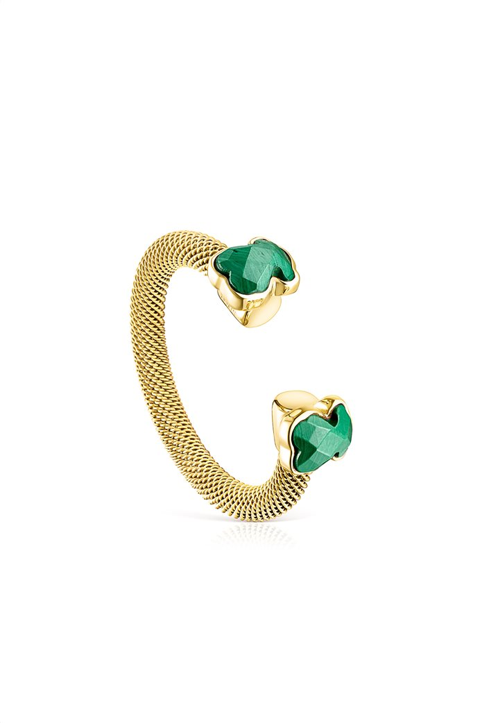 TOUS γυναικείο ανοιχτό δαχτυλίδι Mesh Color από επιχρυσωμένο Ατσάλι με Μαλαχίτη 0