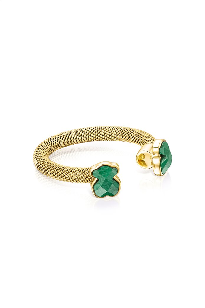 TOUS γυναικείο ανοιχτό δαχτυλίδι Mesh Color από επιχρυσωμένο Ατσάλι με Μαλαχίτη 1