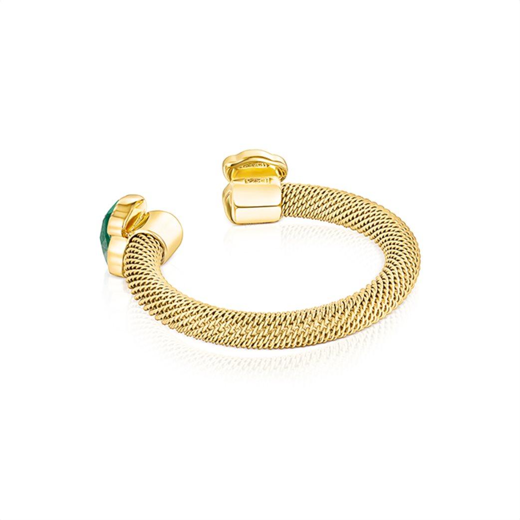 TOUS γυναικείο ανοιχτό δαχτυλίδι Mesh Color από επιχρυσωμένο Ατσάλι με Μαλαχίτη 2