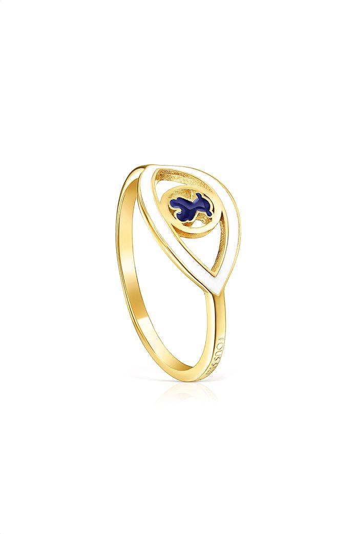 TOUS γυναικείο δαχτυλίδι μάτι TOUS Good Vibes από Ασήμι Vermeil με μπλε και λευκό σμάλτο 0