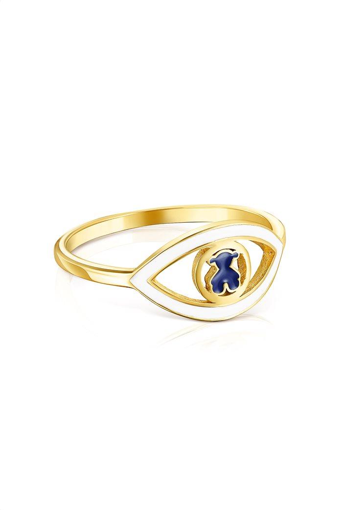 TOUS γυναικείο δαχτυλίδι μάτι TOUS Good Vibes από Ασήμι Vermeil με μπλε και λευκό σμάλτο 1
