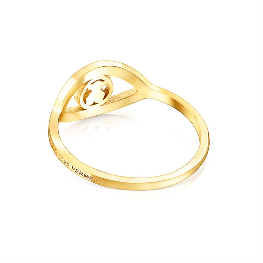 TOUS γυναικείο δαχτυλίδι μάτι TOUS Good Vibes από Ασήμι Vermeil με μπλε και λευκό σμάλτο 2