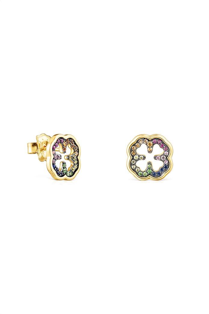 TOUS γυναικεία σκουλαρίκια τριφύλλι TOUS Good Vibes από Ασήμι Vermeil με Πολύτιμους Λίθους 0