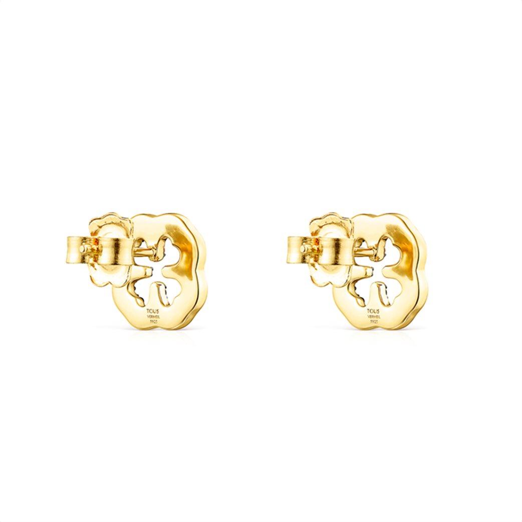 TOUS γυναικεία σκουλαρίκια τριφύλλι TOUS Good Vibes από Ασήμι Vermeil με Πολύτιμους Λίθους 2