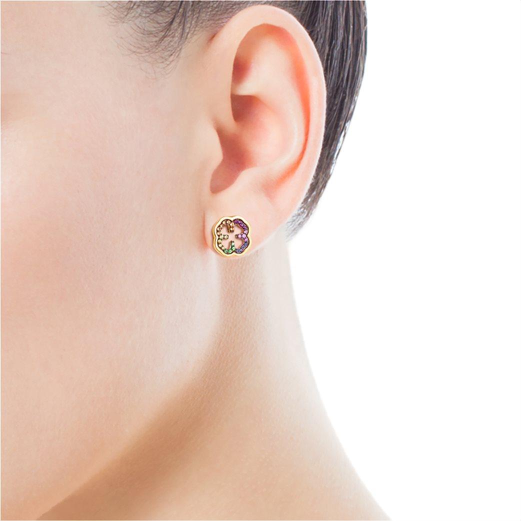 TOUS γυναικεία σκουλαρίκια τριφύλλι TOUS Good Vibes από Ασήμι Vermeil με Πολύτιμους Λίθους 3