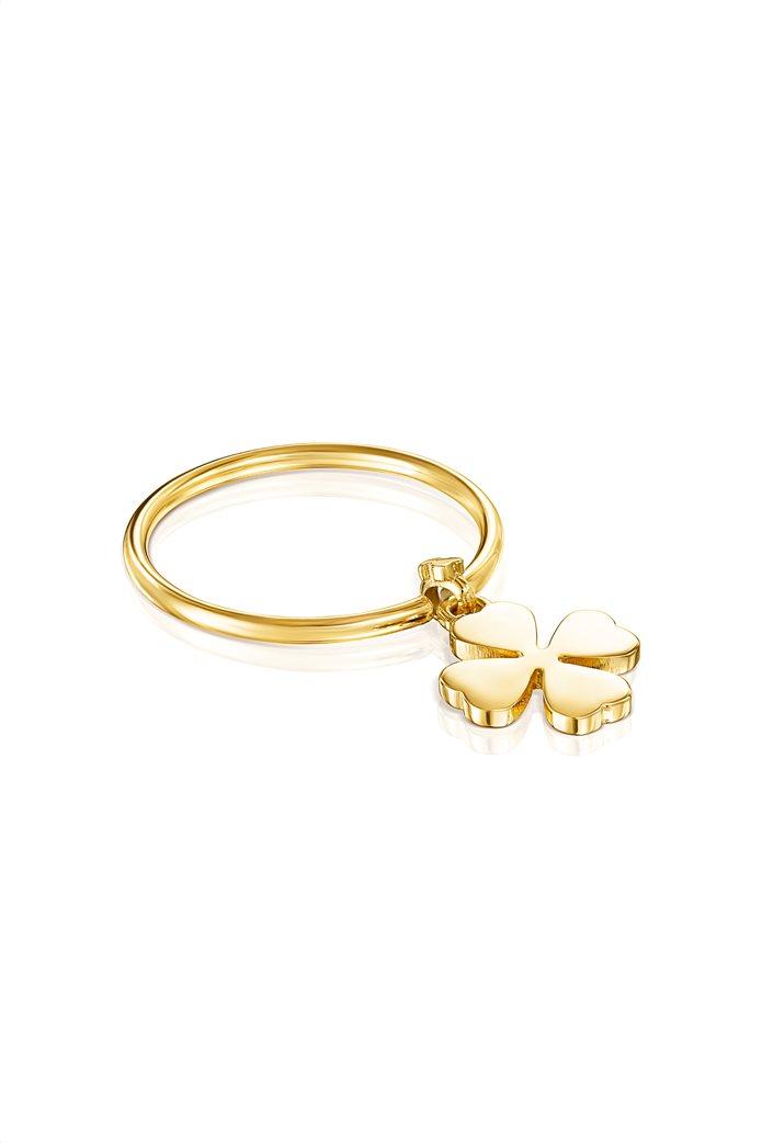 TOUS γυναικείο δαχτυλίδι τριφύλλι TOUS Good Vibes από Ασήμι Vermeil 1