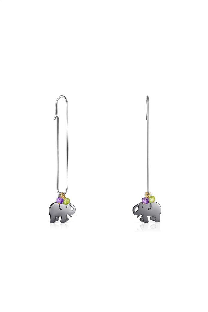 TOUS γυναικεία σκουλαρίκια ελεφαντάκι TOUS Good Vibes από Ασήμι και Ασήμι Dark Silver με Πολύτιμους Λίθους 0