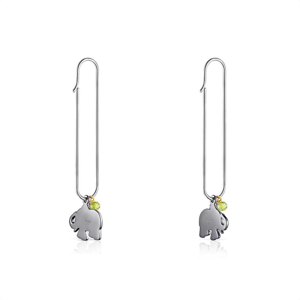 TOUS γυναικεία σκουλαρίκια ελεφαντάκι TOUS Good Vibes από Ασήμι και Ασήμι Dark Silver με Πολύτιμους Λίθους 2