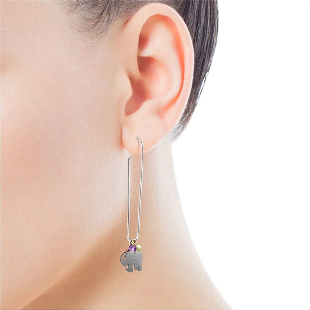 TOUS γυναικεία σκουλαρίκια ελεφαντάκι TOUS Good Vibes από Ασήμι και Ασήμι Dark Silver με Πολύτιμους Λίθους 3