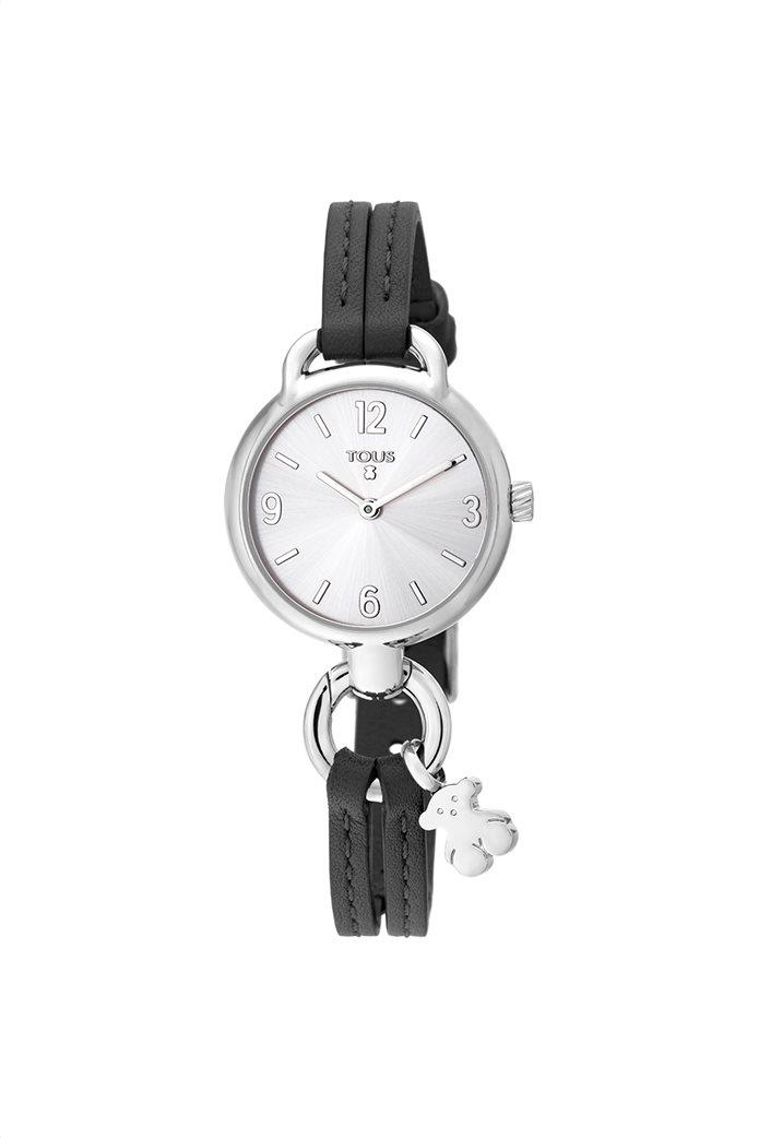 TOUS γυναικείο ρολόι Hold από Ατσάλι με μαύρο Δερμάτινο λουράκι 0