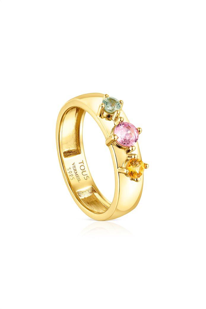 TOUS γυναικείο δαχτυλίδι Glaring από Ασήμι Vermeil με Ζαφείρια 0