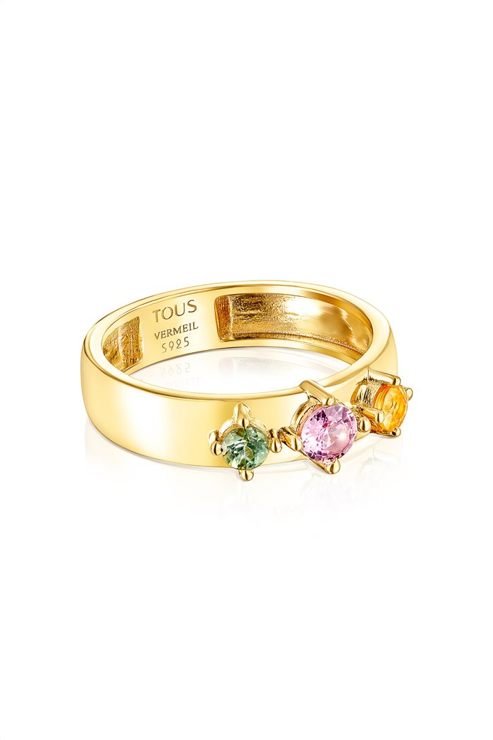 TOUS γυναικείο δαχτυλίδι Glaring από Ασήμι Vermeil με Ζαφείρια 1