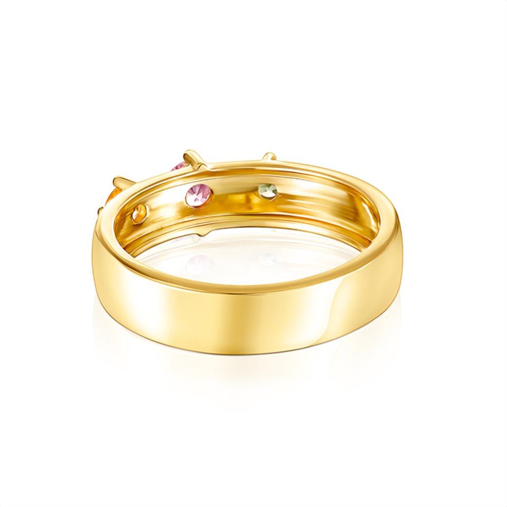 TOUS γυναικείο δαχτυλίδι Glaring από Ασήμι Vermeil με Ζαφείρια 2