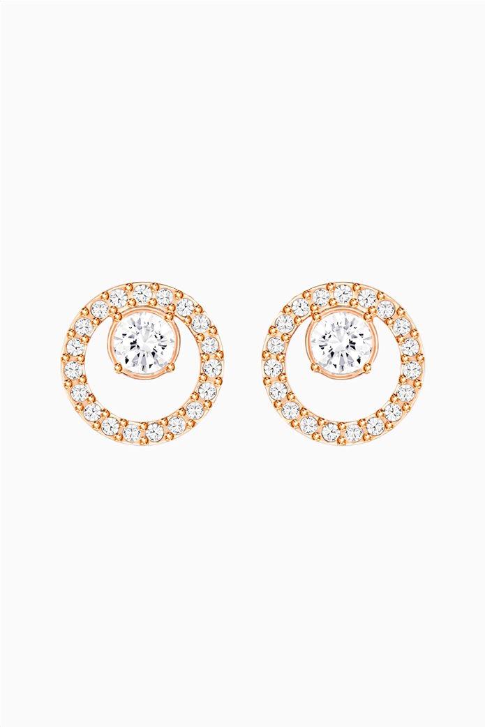 Swarovski Creativity Circle Pierced Earrings, White, Rose-gold tone plated Λευκό 0