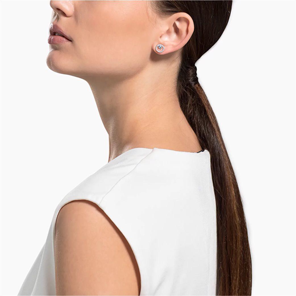 Swarovski Creativity Circle Pierced Earrings, White, Rose-gold tone plated Λευκό 1