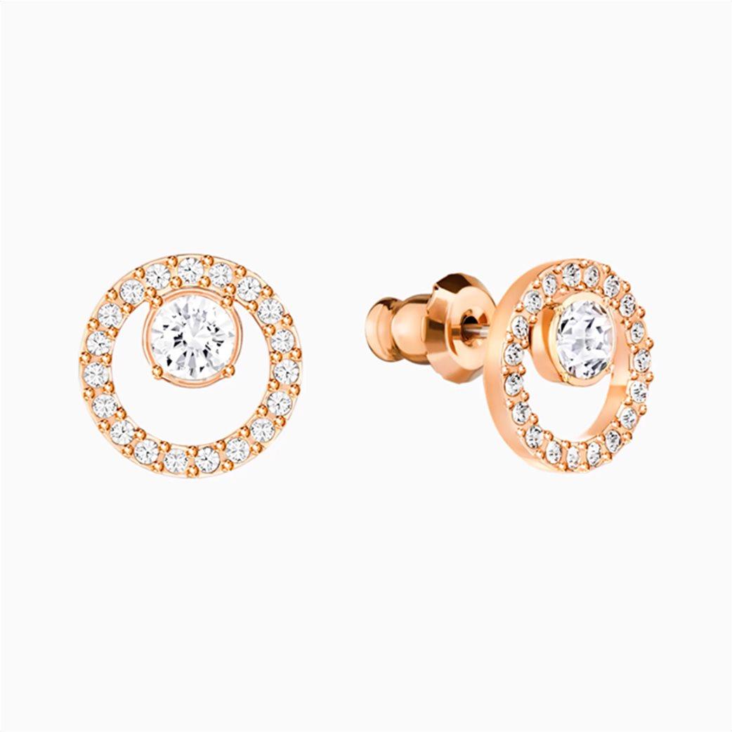 Swarovski Creativity Circle Pierced Earrings, White, Rose-gold tone plated Λευκό 2