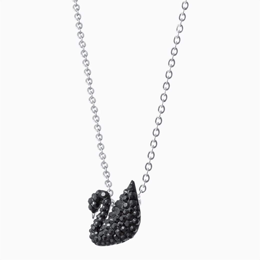 Swarovski Iconic Swan Pendant, Black, Rhodium plated Μαύρο 2
