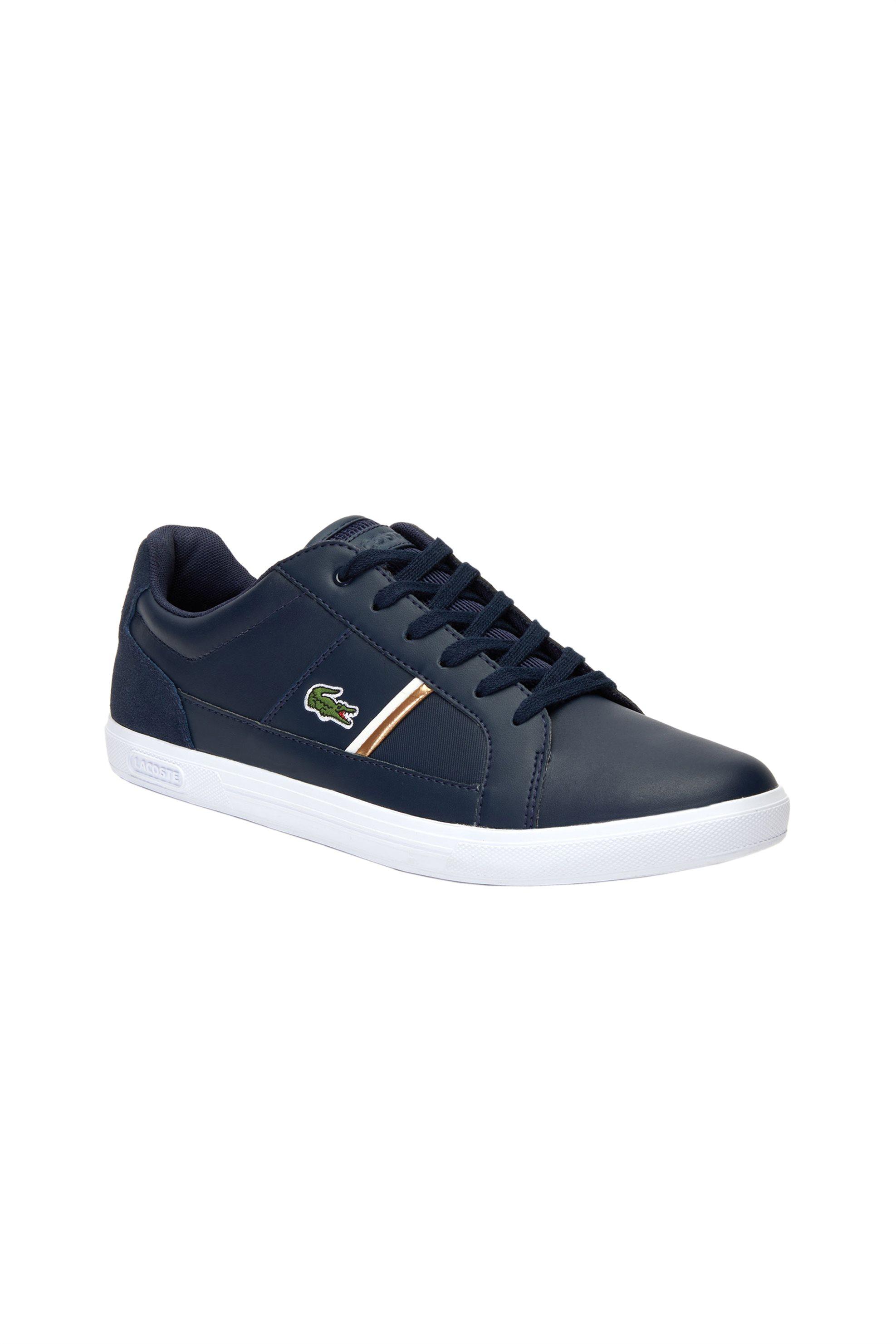 Lacoste ανδρικά sneakers με κορδόνια και ριγέ λεπτομέρεια Europa – 38SMA0017092 – Μπλε Σκούρο
