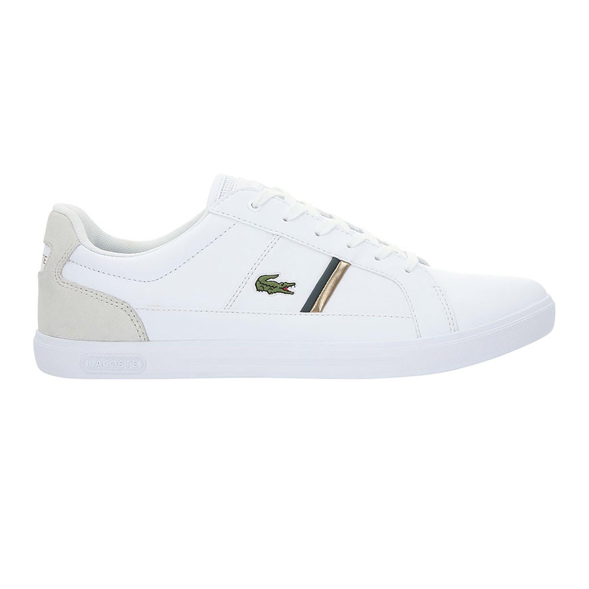 Lacoste ανδρικά sneakers με κορδόνια και ριγέ λεπτομέρεια Europa – 38SMA00171R5 – Λευκό