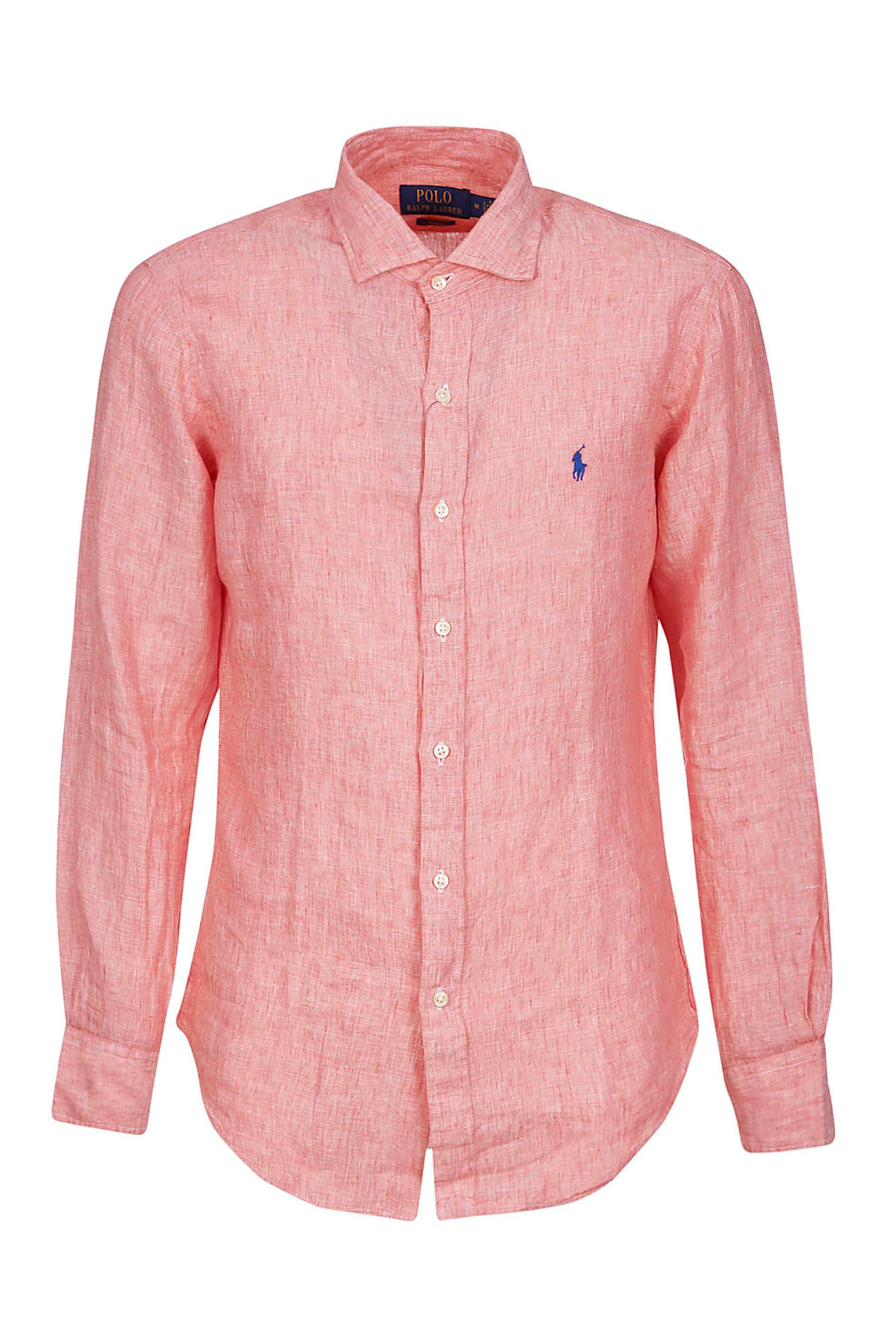 Polo Ralph Lauren ανδρικό λινό πουκάμισο με button-up γιακά - 710795426001 - Ροζ