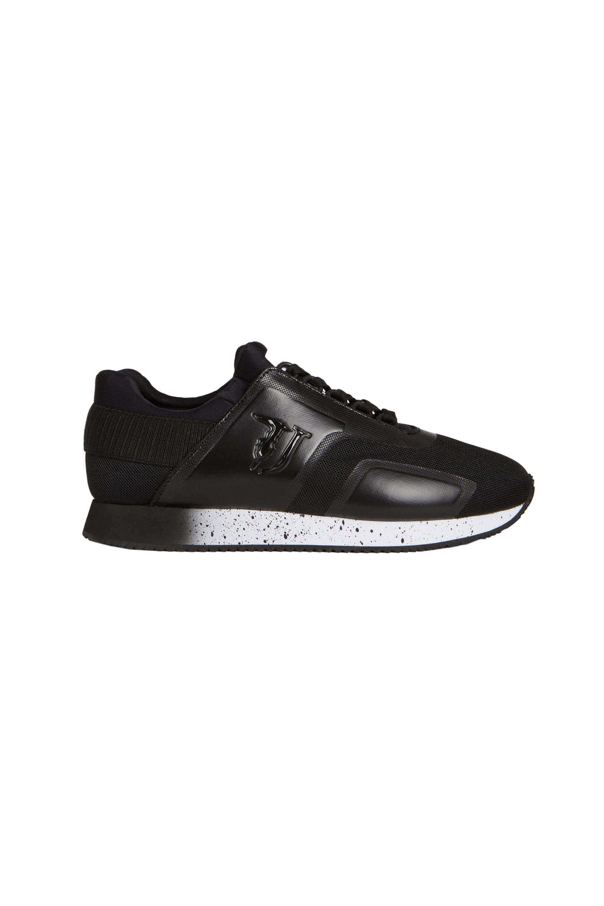 Trussardi Jeans ανδρικά sneakers με δερμάτινες και mesh λεπτομέρειες – 77A00154-9Y099999 – Μαύρο