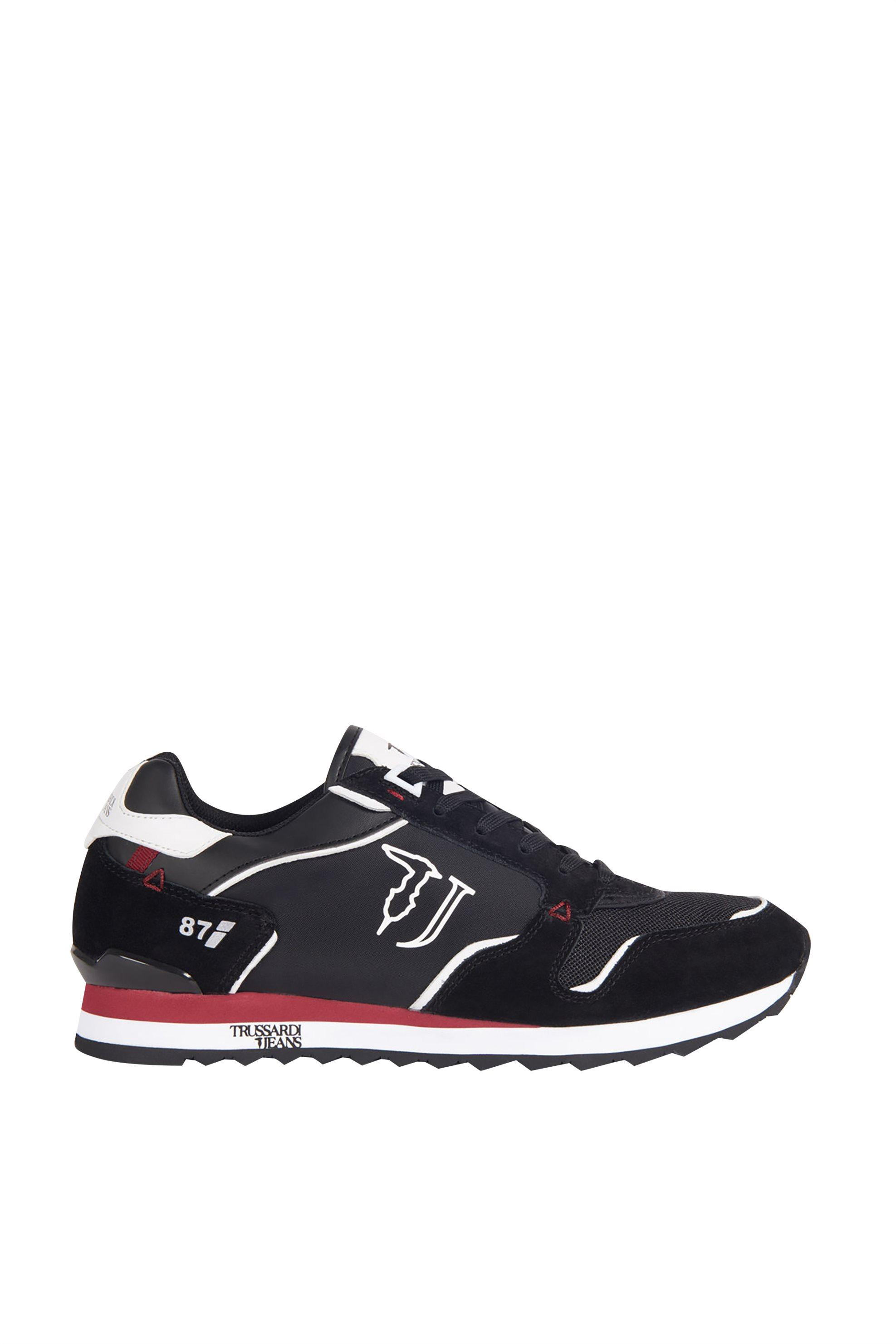 Trussardi Jeans ανδρικά sneakers με suede λεπτομέρειες και logo print – 77A00188-9Y099999 – Μαύρο