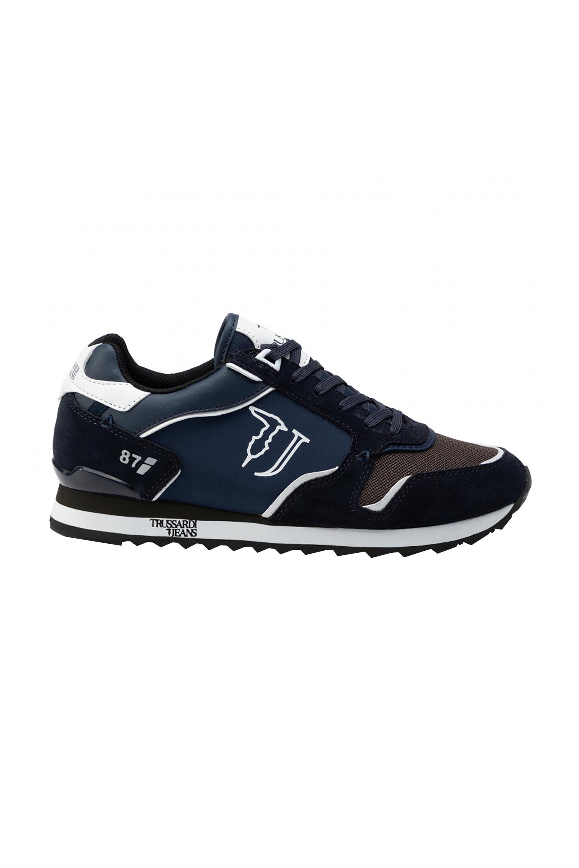 Trussardi Jeans ανδρικά sneakers με suede λεπτομέρειες και logo print – 77A00188-9Y099999 – Μπλε Σκούρο