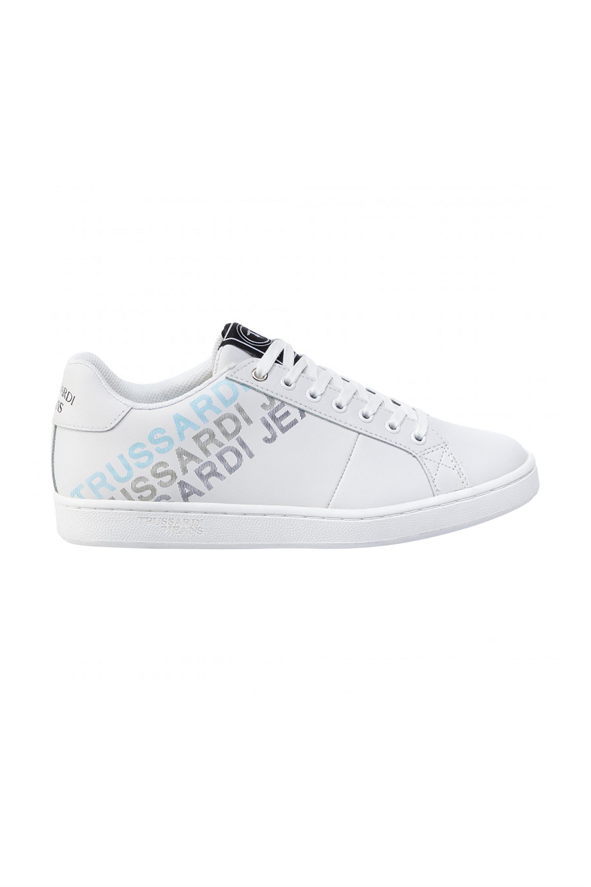 Τrussardi Jeans ανδρικά sneakers με τριπλό logo print – 77A00209-9Y099999 – Λευκό