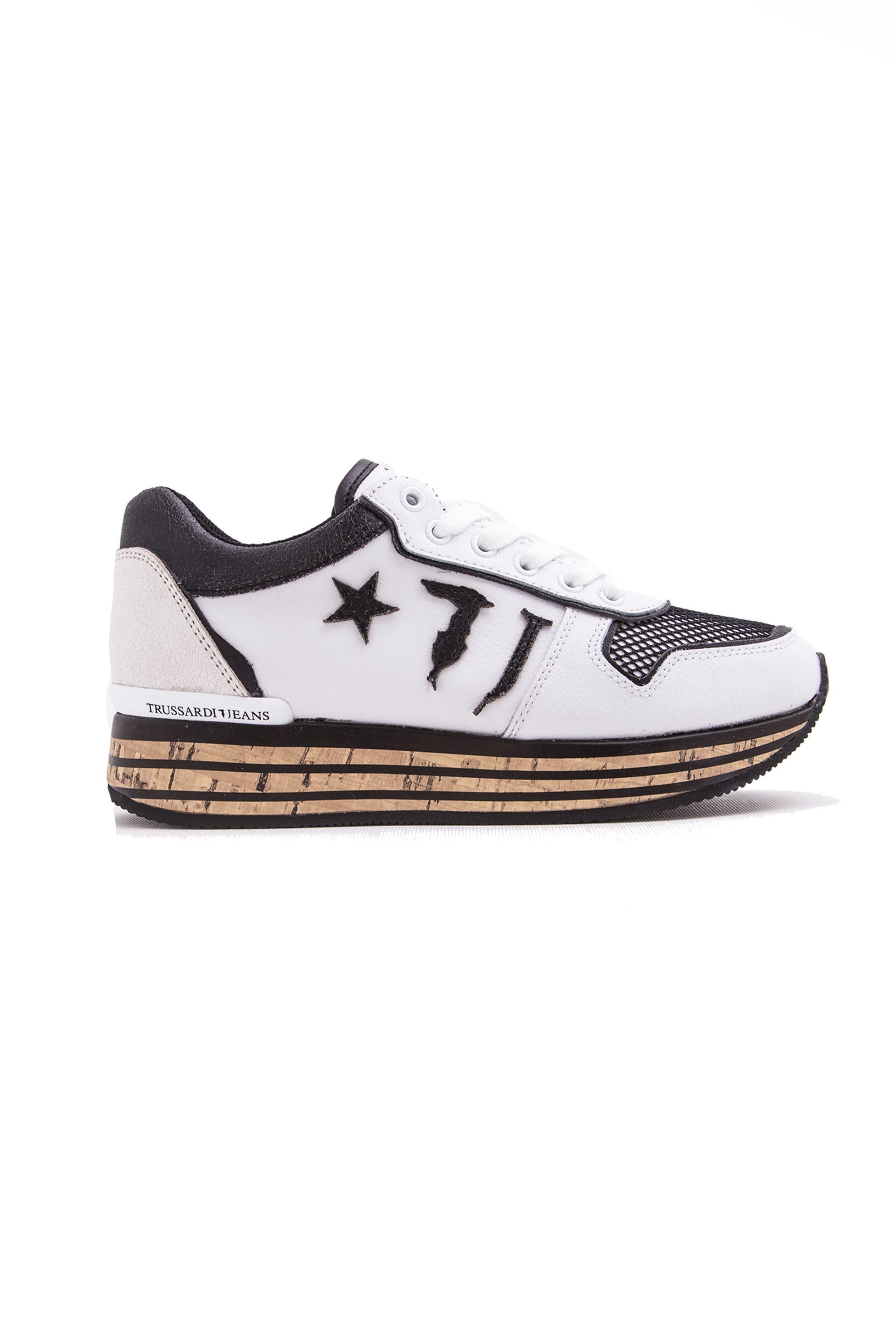 Γυναικεία υπερυψωμένα Sneakers Star Trussardi Jeans – 79A00149-9Y099999 – Λευκό