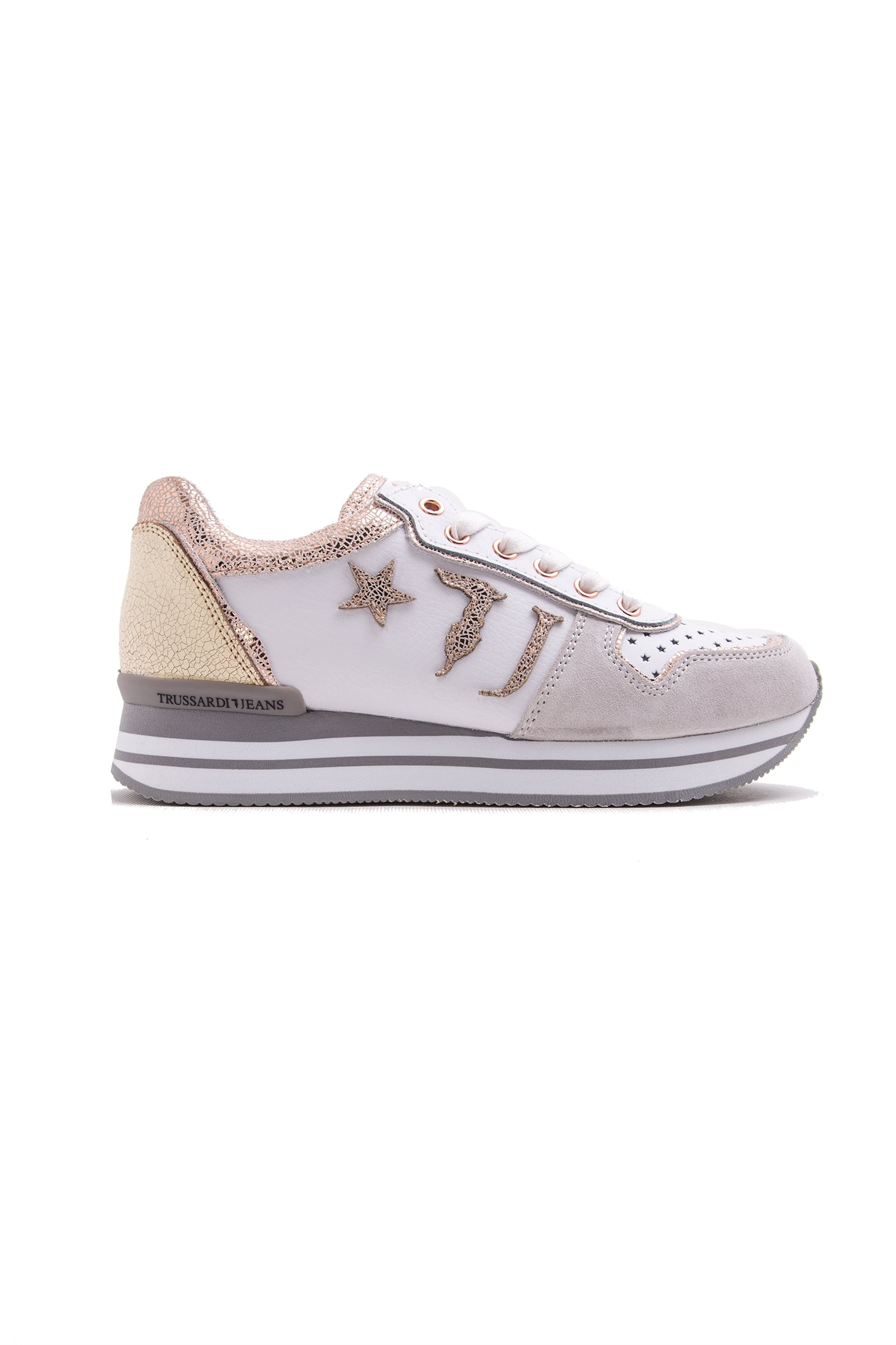 Γυναικεία υπερυψωμένα Sneakers Perforated Star-Design Trussardi Jeans – 79A00150-9Y099999 – Εκρού