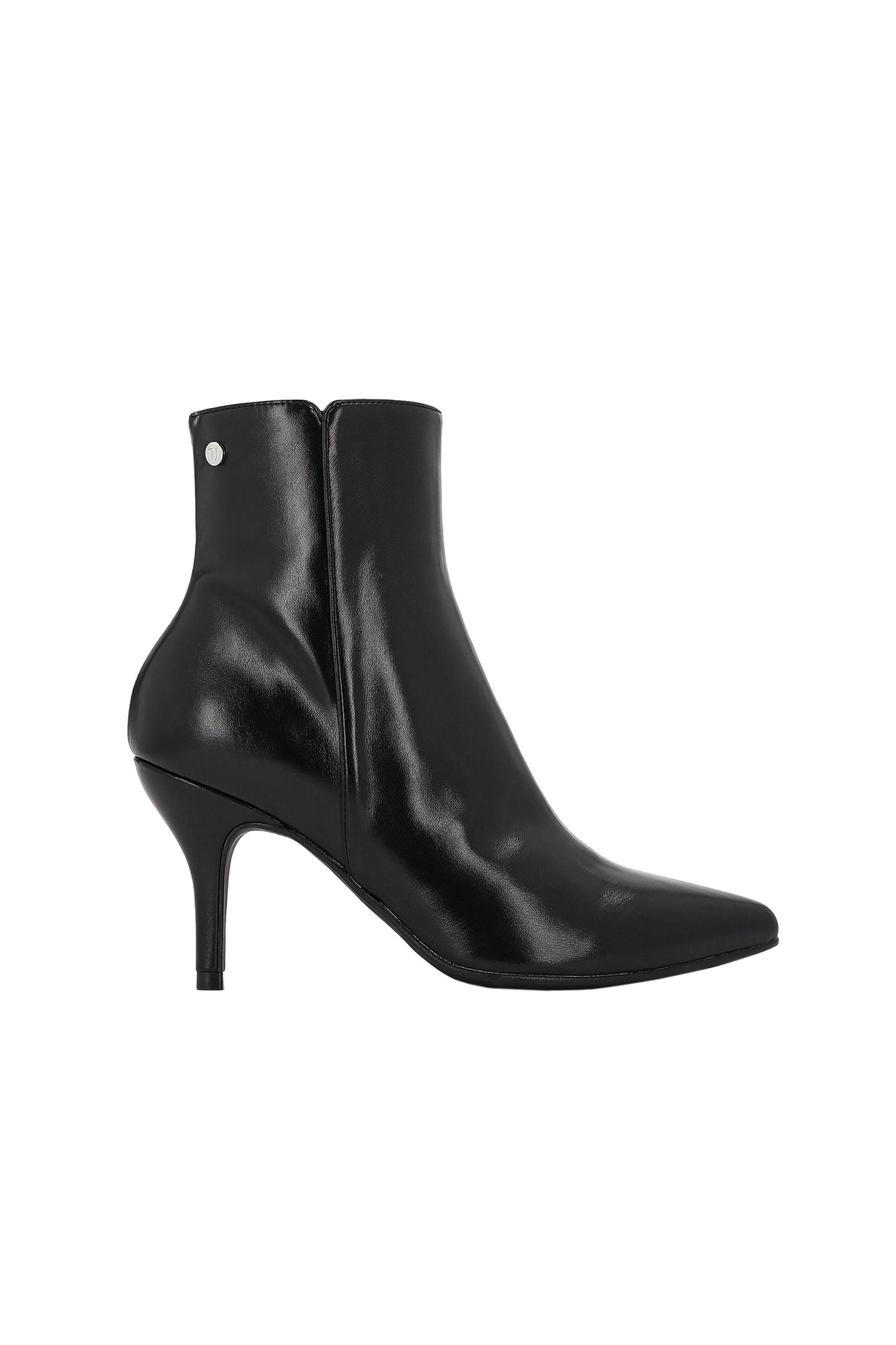 Trussardi Jeans γυναικείo δερμάτινo μποτάκι Μid height heel – 79A00265-9Y099999 – Μαύρο