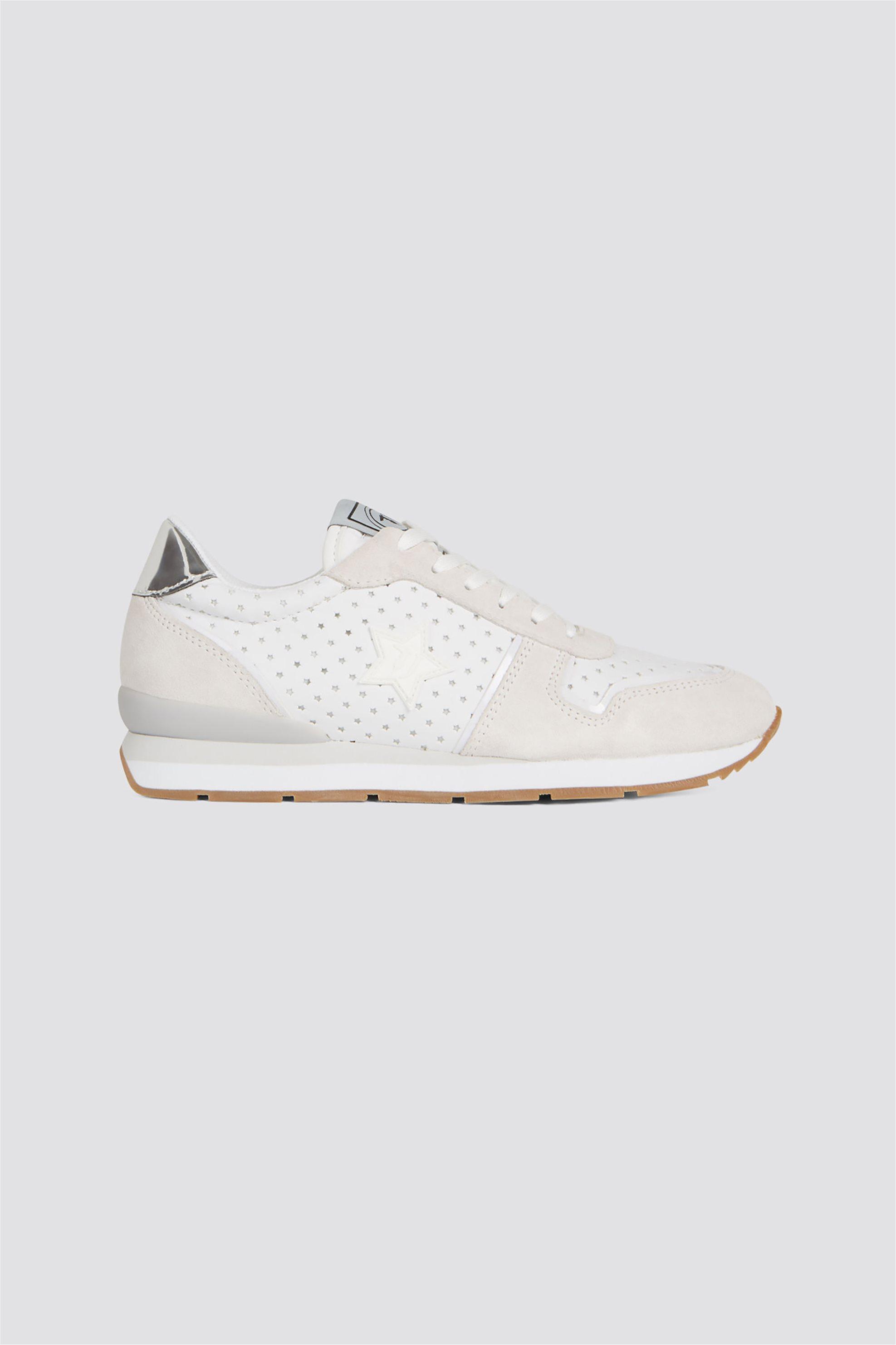 Trussardi Jeans γυναικεία δερμάτινα sneakers με cut αστέρια – 79A00322-9Y099999 – Λευκό