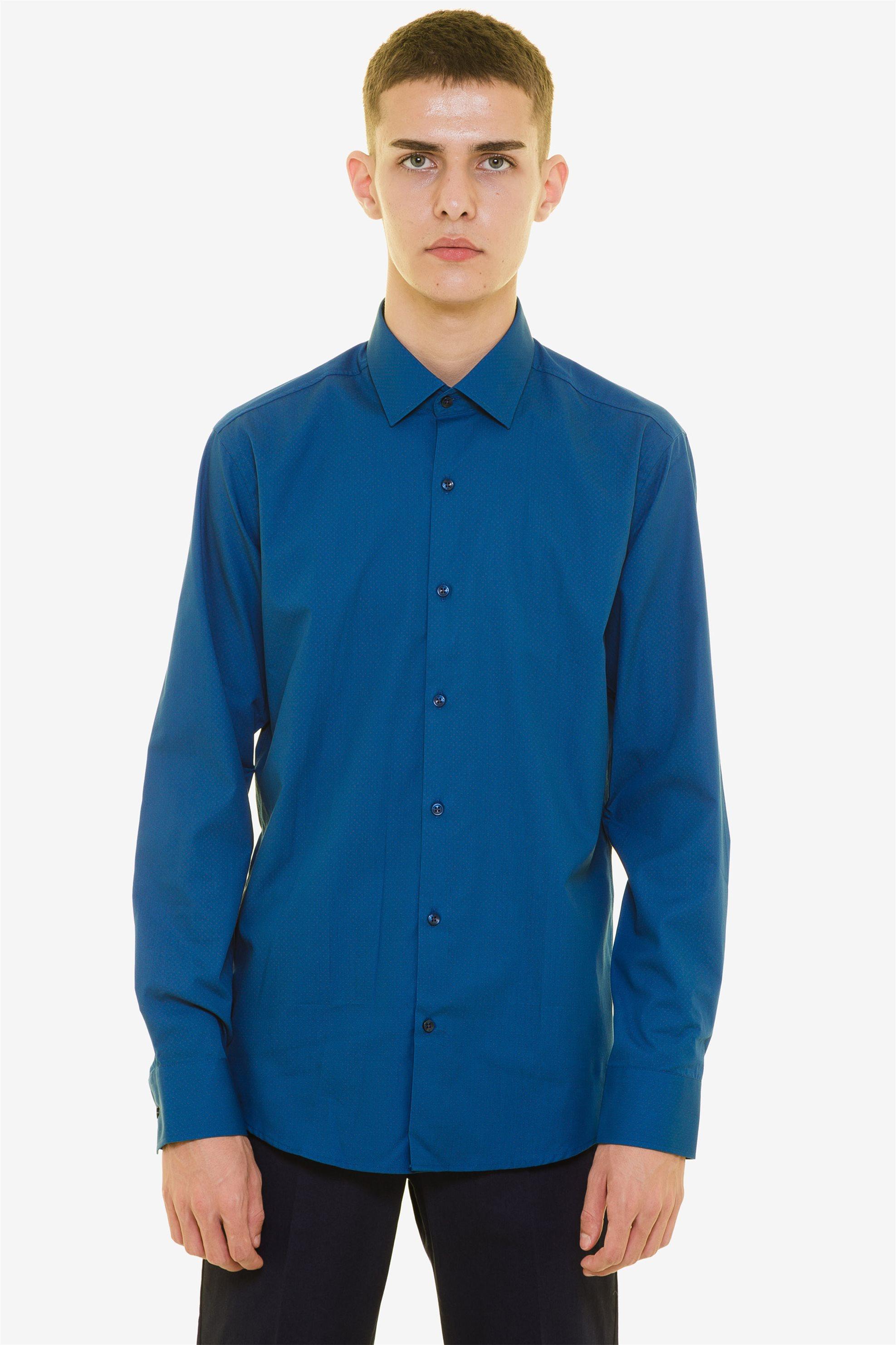 The Bostonians ανδρικό πουκάμισο με μικροσχέδιο πουά - ACP1617 - Μπλε