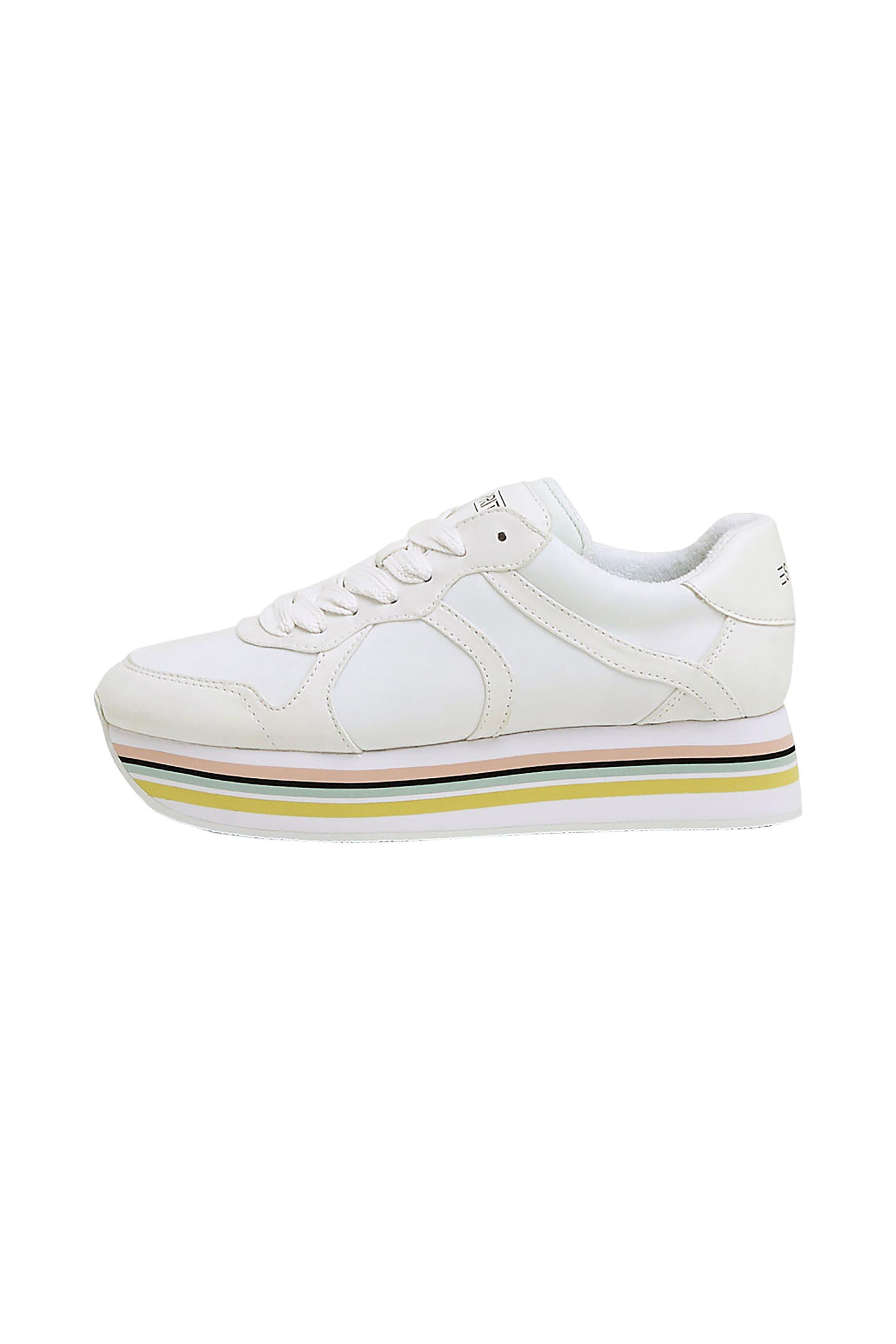 Esprit γυναικεία αθλητικά παπούτσια με ριγέ πλατφόρμα – 039EK1W023 – Λευκό